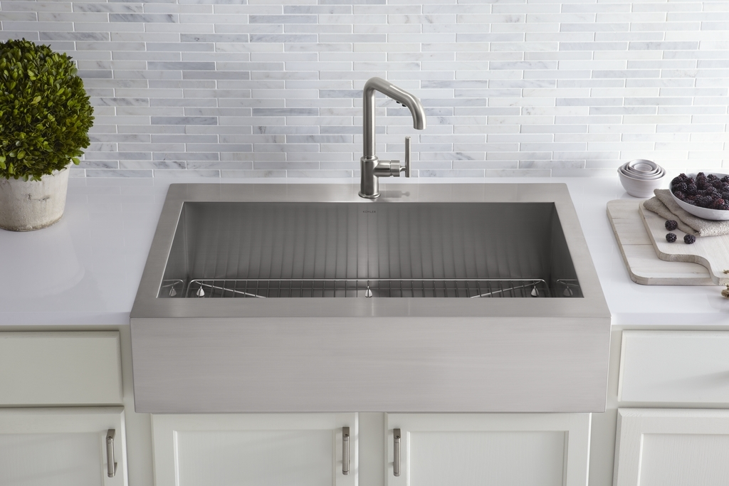 Bib Sink : ... Top-Mount Self-Trimming Apron-Front Kitchen Sink to Vault Collection