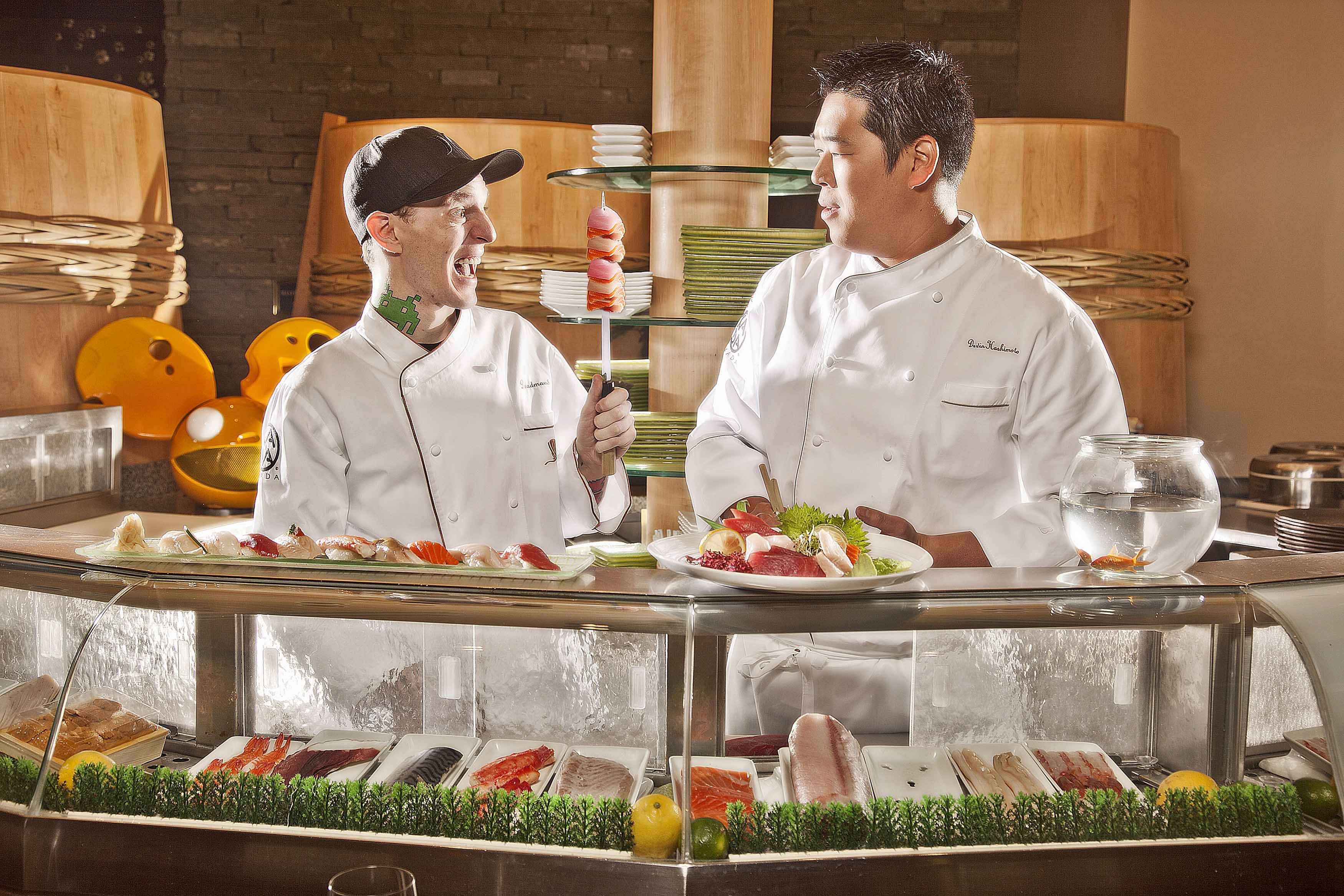 Electronic artist deadmau5 tries his shot as a sushi chef at Okada during his job search at Wynn Las Vegas. Deadmau5 has developed an exclusive partnership for 2012 with XS, Encore Beach Club, and Wynn Las Vegas. Photo credit: Brian Brown Photography.