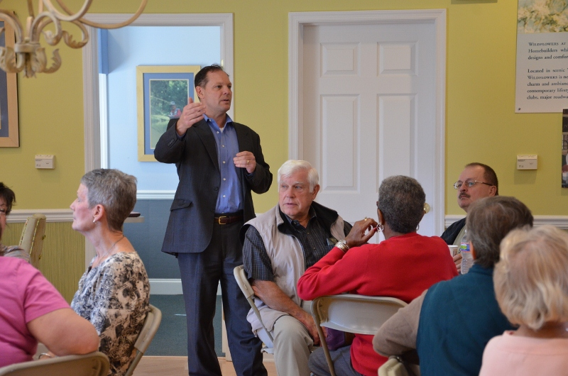 Mike Palmer, Orleans Homes Northeast Division President, addresses residents at an event at the Chester County Hillview.  The event was held to listen to residents' and prospective residents' feedback on the company's new floor plans for active adult communities.