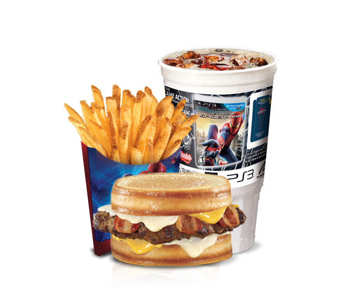 The Amazing Grilled Cheese Bacon Burger large combo features a 40-ounce Spider-Man collectors' cup and Spider-Man themed fry carton.