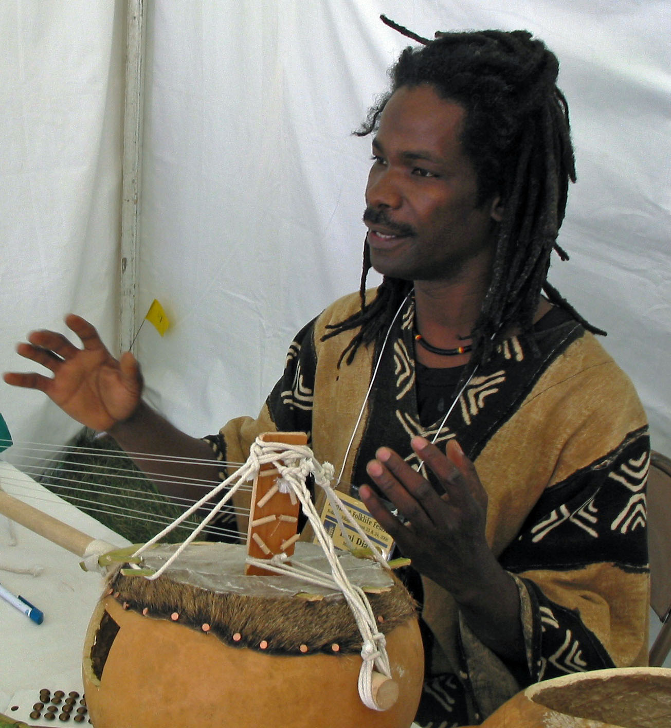Tani Diakite of Madison makes and plays Malian lutes, especially the kamalen'goni.