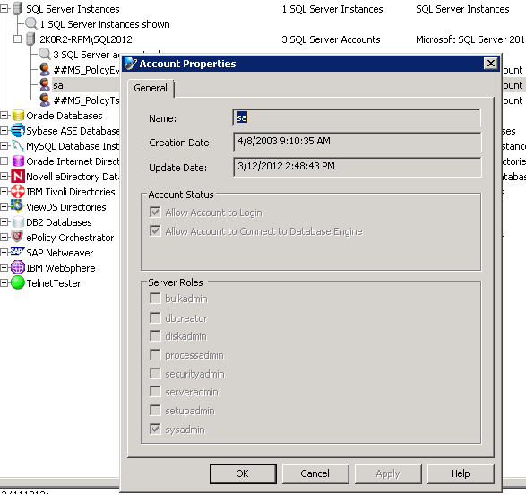 ERPM automatically discovers SQL 2012 accounts in the database.