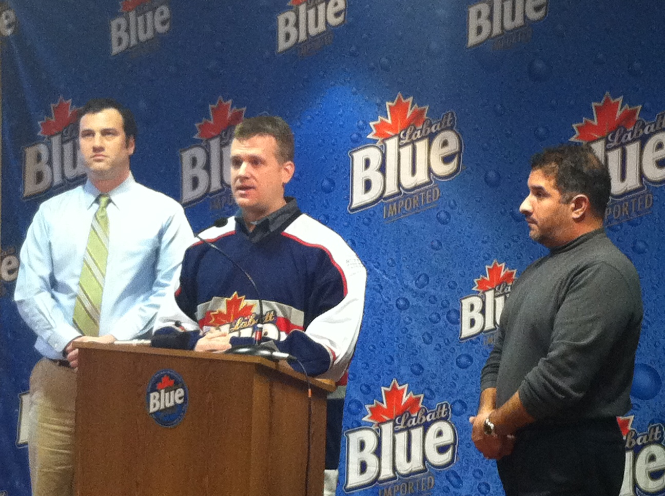 Associate Brand Manager of Labatt Blue Brett Carlsen announced that the fifth annual Labatt Blue Buffalo Pond Hockey Tournament will shift to a street hockey tournament.