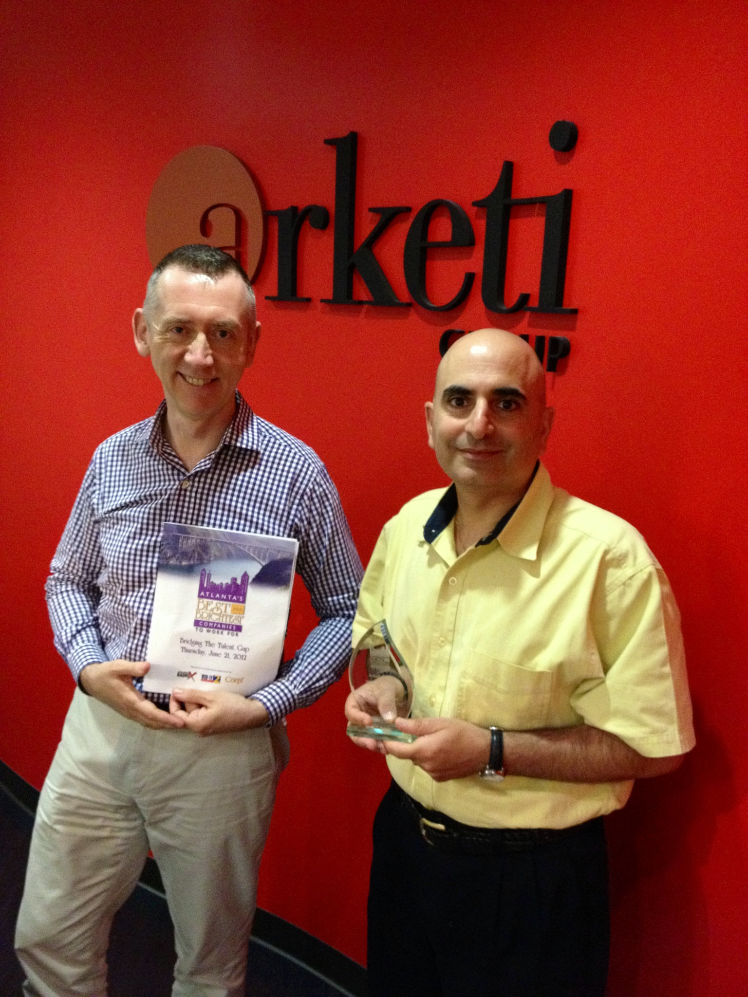 Arketi Principals Rory Carlton and Sami Jajeh with the award.