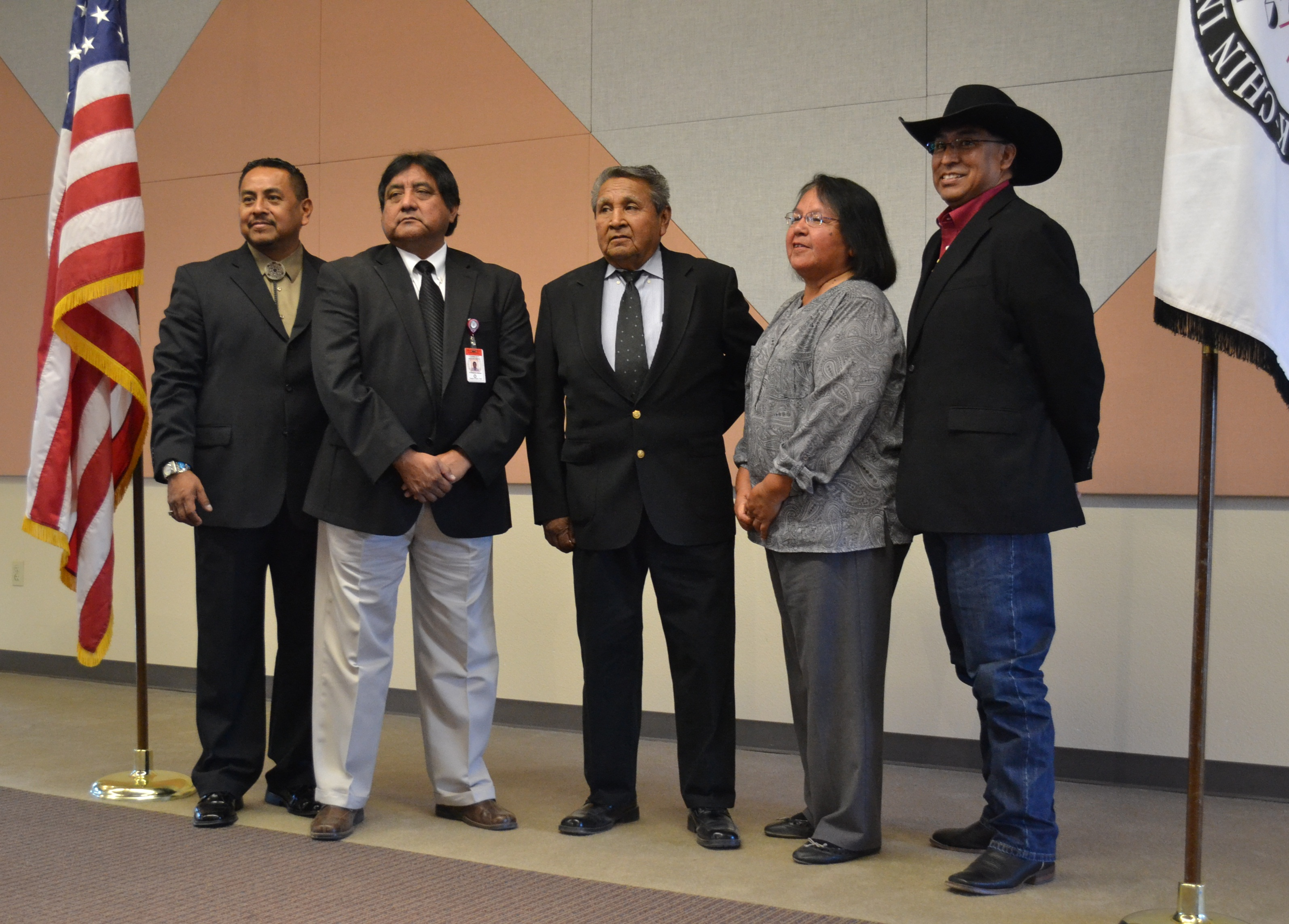 The Ak-Chin Tribal Council from left to right:   Louis Manuel Jr., Chairman, William J. Antone, Vice-Chairman, Terry Enos, Delia M. Carlyle, Gabriel L. Lopez
