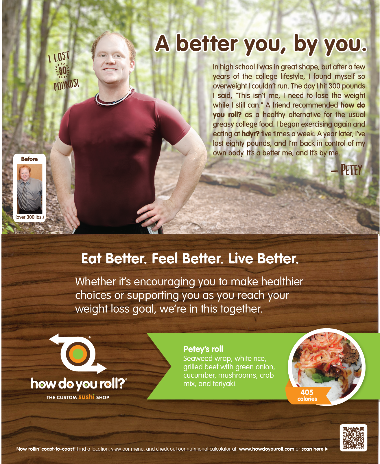"Patrick ""Petey"" Surber lost 80 pounds eating at How Do You Roll? and working out!"