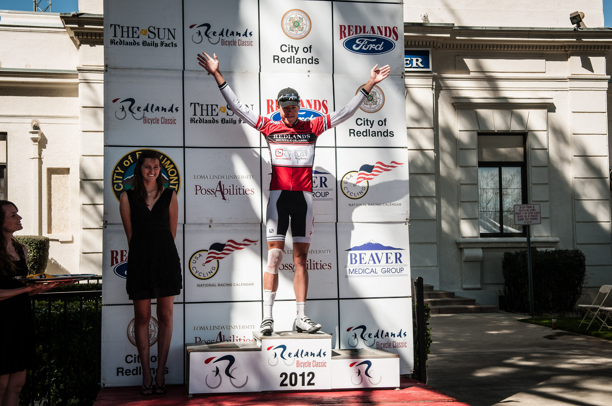 Taylor Shelden with the KOM red jersey after Stage 1. Photo: Tommy Chandler/Competitive Cyclist.