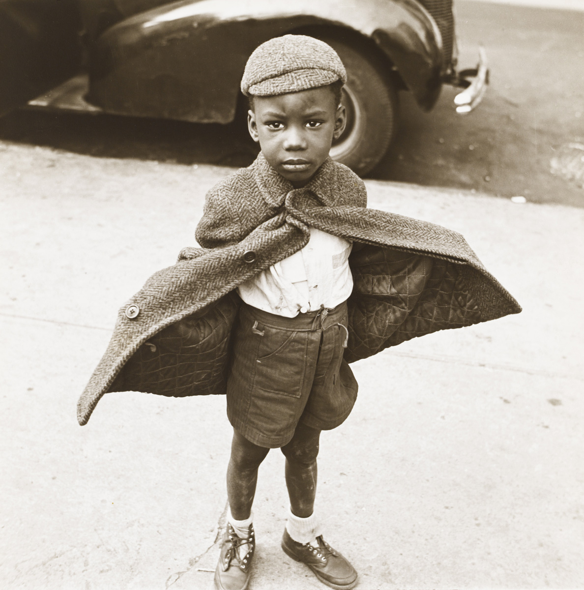 Jerome Liebling, Butterfly Boy, New York, 1949, gelatin silver print.  Columbus Museum of Art, Ohio, Photo League Collection, Museum Purchase with funds provided by Elizabeth M. Ross, the Derby fund, John S. and Catherine Chapin Kobacker, and the Friends of the Photo League.   c Estate of Jerome Liebling.
