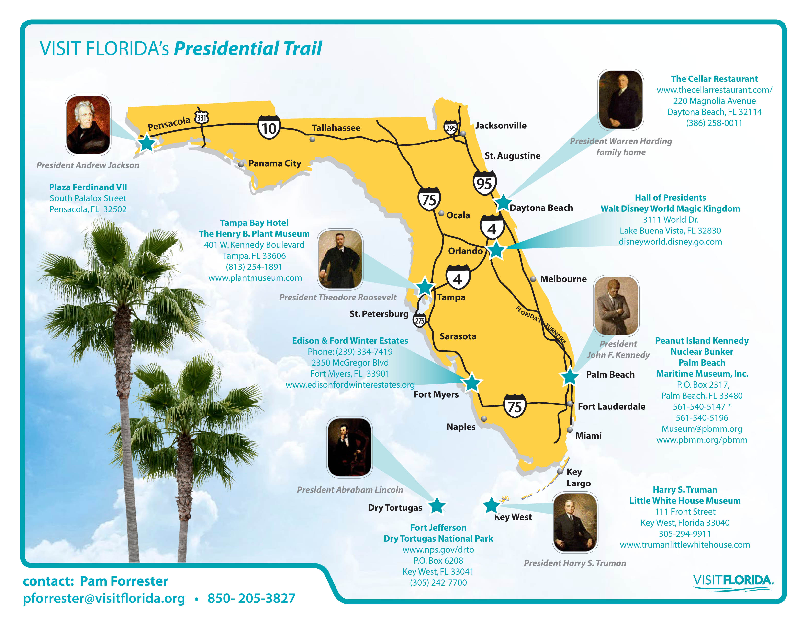 VISIT FLORIDA Presidential Trail Map