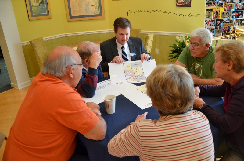 John Kuester, Community Sales Manager at Orleans Homes' Hillview Community in Chester County, describes a new floor plan to current and prospective residents before hearing their feedback.  The event was designed to gather feedback about the new floor plans for active adult communities.