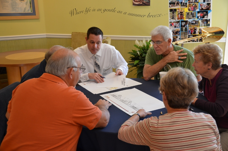 Current and prospective residents share their suggestions on the new floor plans with Matthew Snyder, Community Sales Manager for Orleans Homes.  The event was held at the Hillview Community in Chester County, PA to obtain feedback on the company's new floor plans for active adult communities.