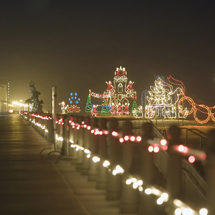 Christmas lights along the boardwalk in Virginia Beach, Credit: VA Beach CVB, Virginia Tourism Corporation