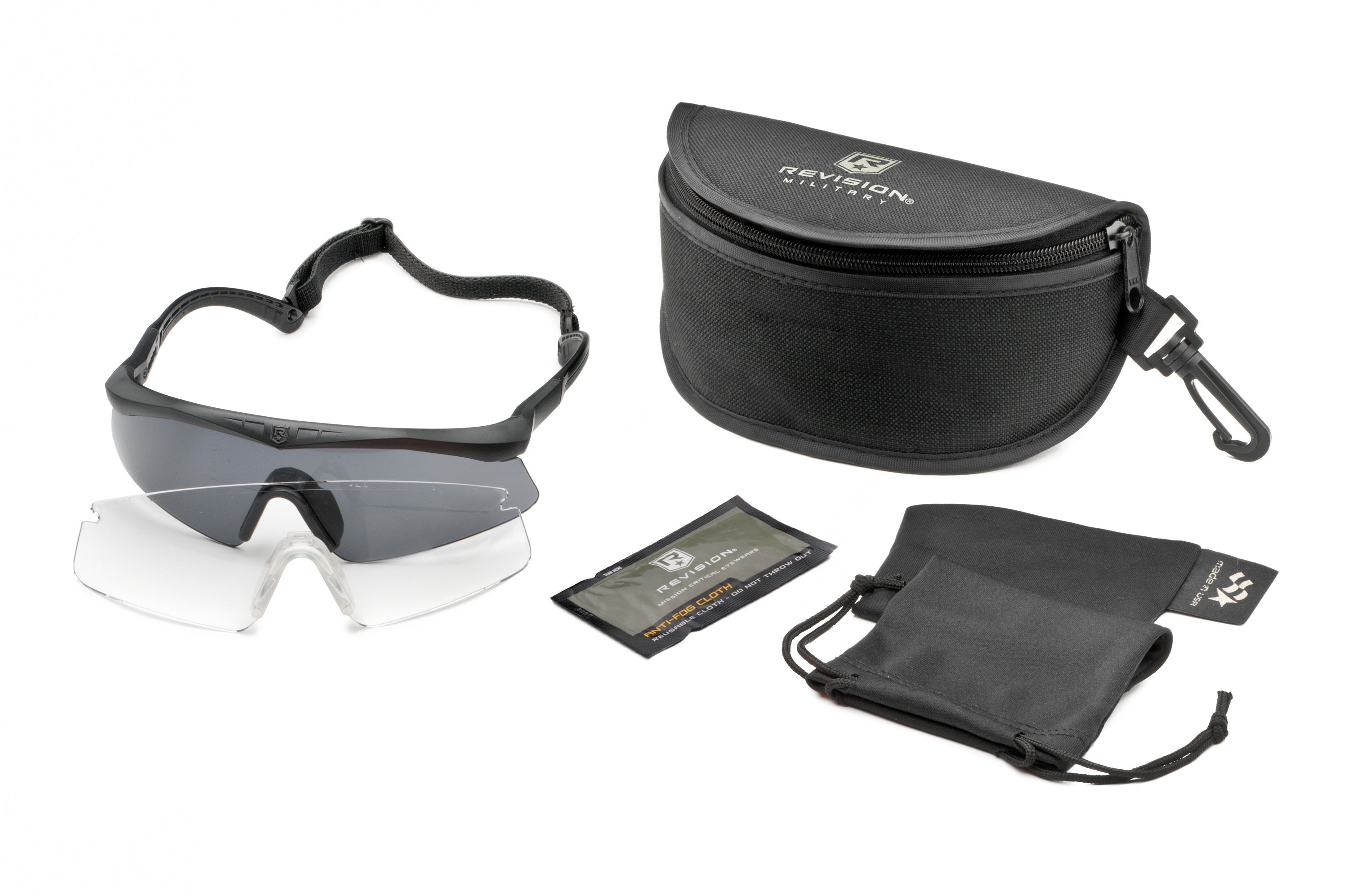 The 2-lens Sawfly U.S. Military Eyewear Kit in size Small includes an ergonomic frame with removable retention band, smoke and clear lenses, an anti-fog cloth, microfiber cleaning pouch and stowage case.