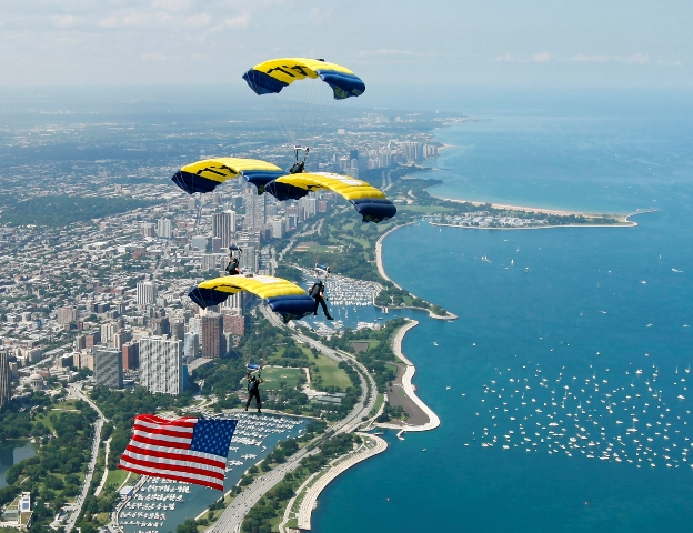 U.S. Navy Leapfrogs Parachute Demonstration Team