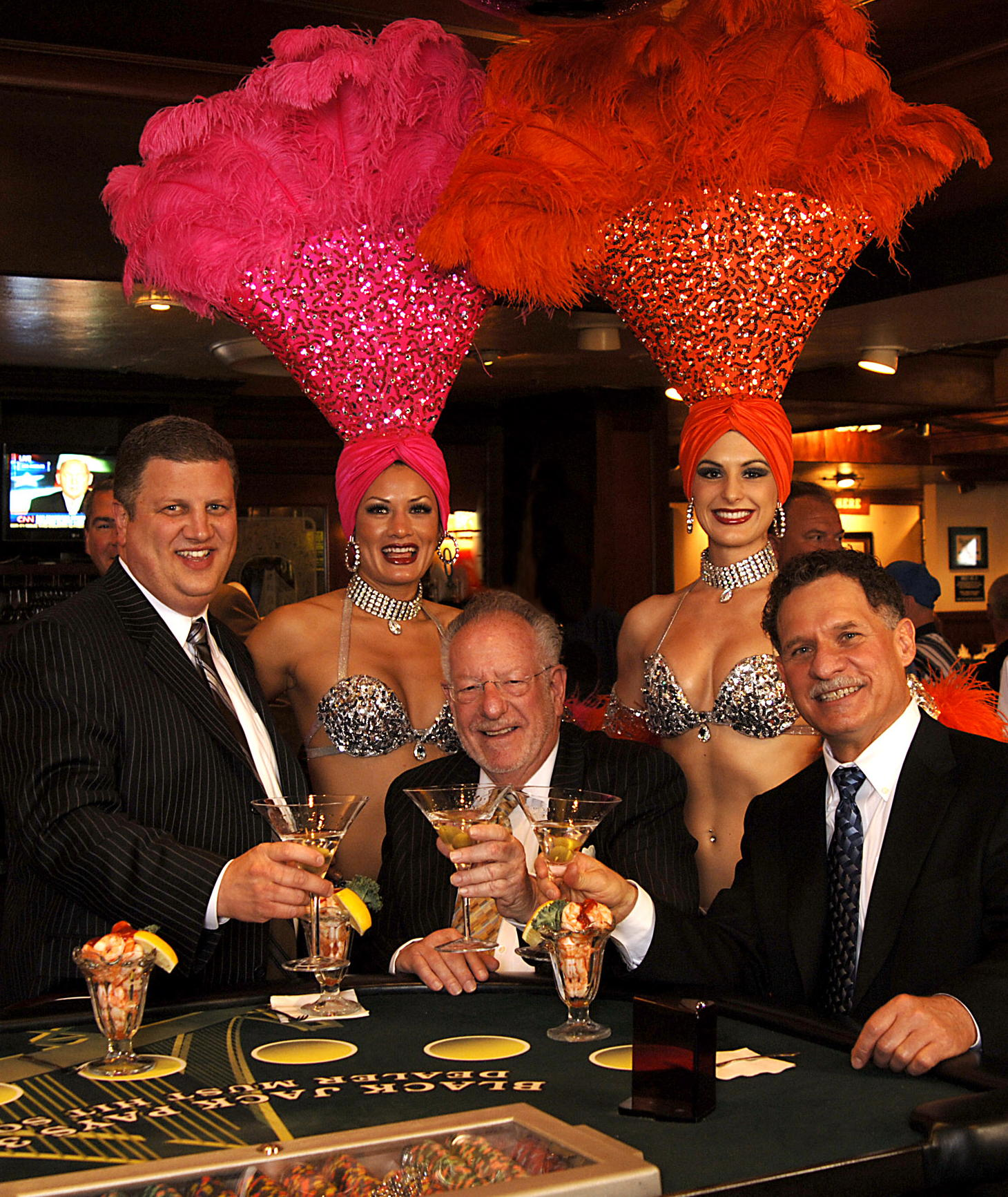 Mayor Oscar Goodman toasts co-owner Mark Brandenburg and his new partners, Derek & Greg Stevens, launching a new chapter in the history of the jewel of downtown Las Vegas.