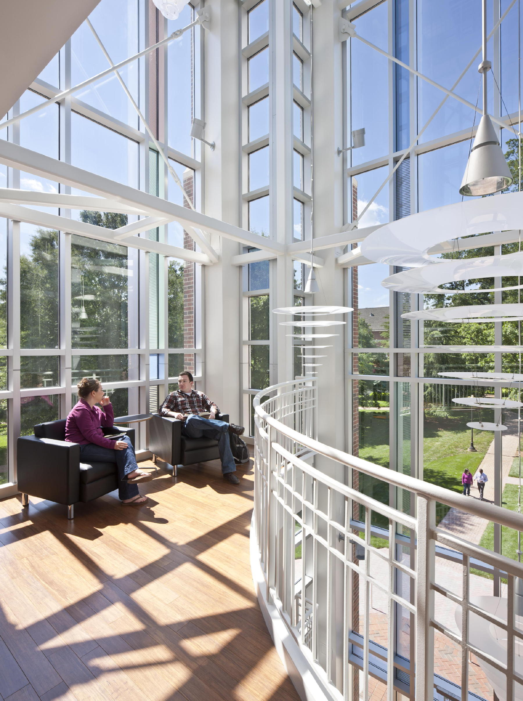 "The Vernon S. Broyles Jr. Leadership Center's 80-foot-tall glass tower element features ""study balconies"" with expansive views of the Columbia Theological Seminary campus. c 2012 Jonathan Hillyer / Atlanta"