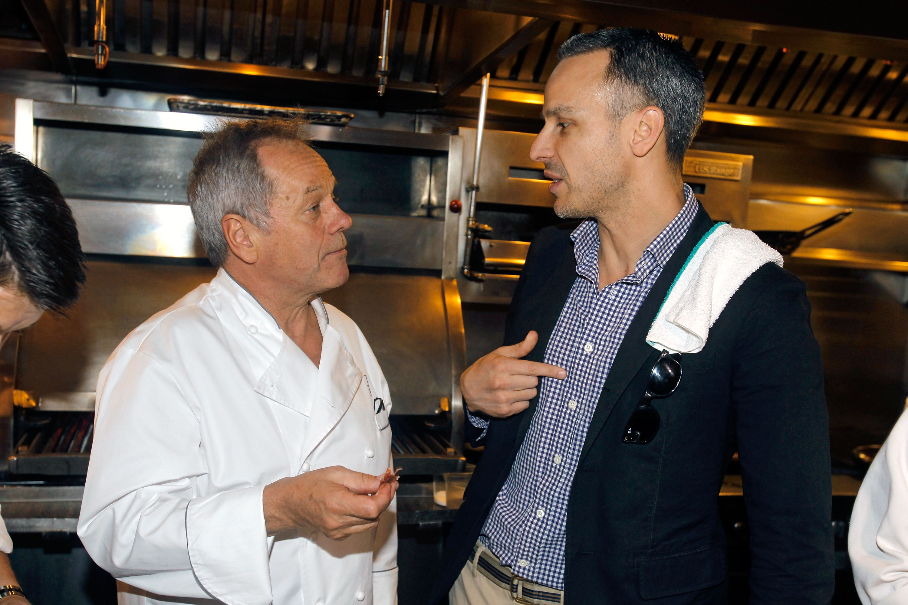 Wolfgang Puck and Adam Rapoport at Spago&#39;s 20th anniversary lunch (photo credit: Isaac Brekken)