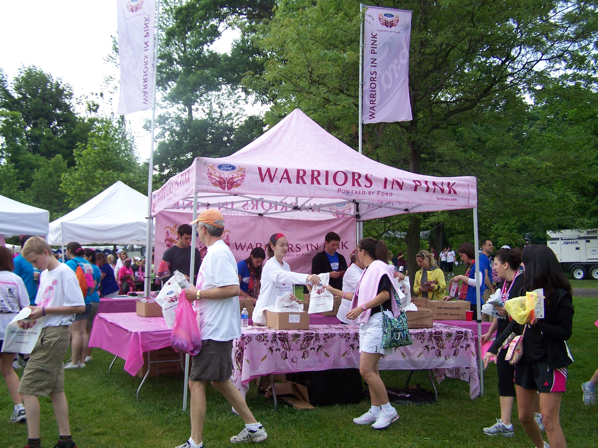"Nationally, Ford provides ""Warriors in Pink"" scarves to participants at Susan G. Komen Race for the Cure events, including Western New York. Every year the scarves feature a unique design."