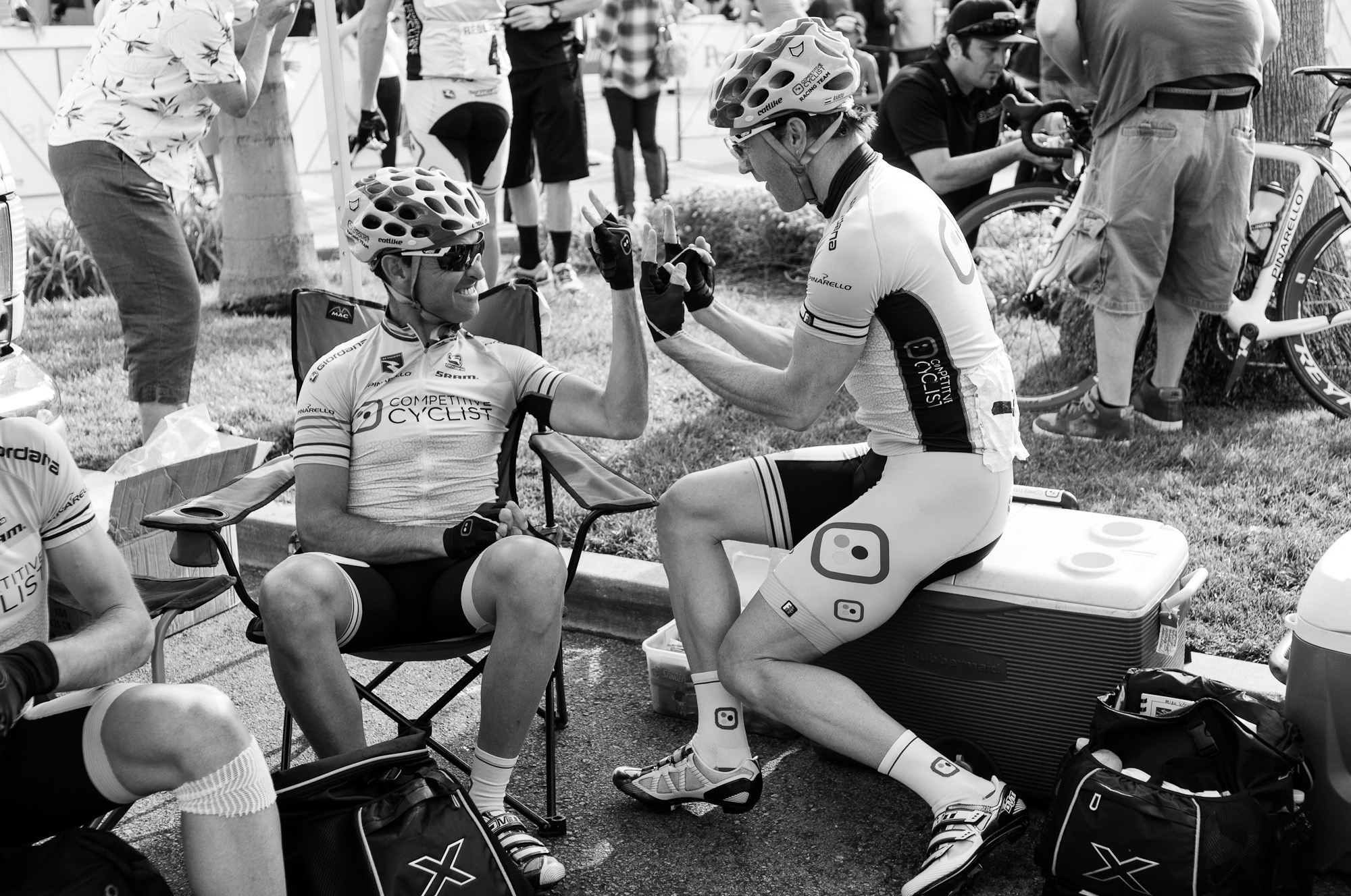 Mancebo and Tommy Nankervis getting pumped before Stage 2: City of Redlands Criterium. Photo: Tommy Chandler/Competitive Cyclist.