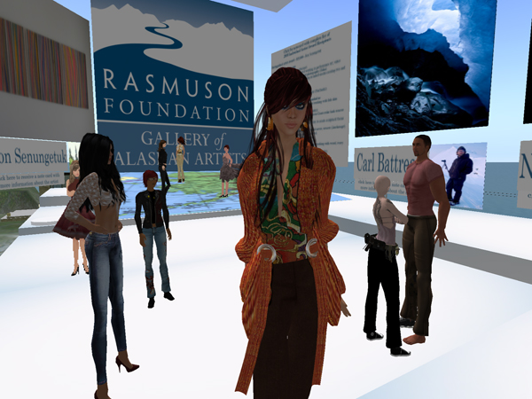 The Rasmuson Gallery of Alaskan Artists is situated on the virtual island Rhetorica owned by the University of Alaska Fairbanks.
