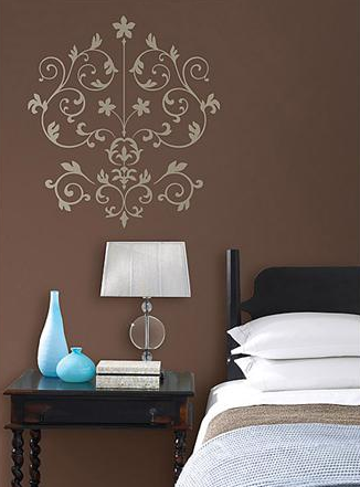 Brown signature wall with WallPops Nouveau Damask Wall Art Kit. Approx. $30.99 each set.
