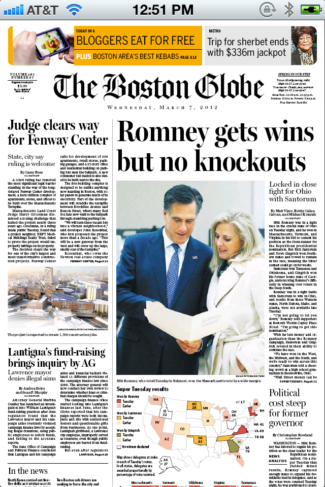 Boston Globe Page 1 on iPhone