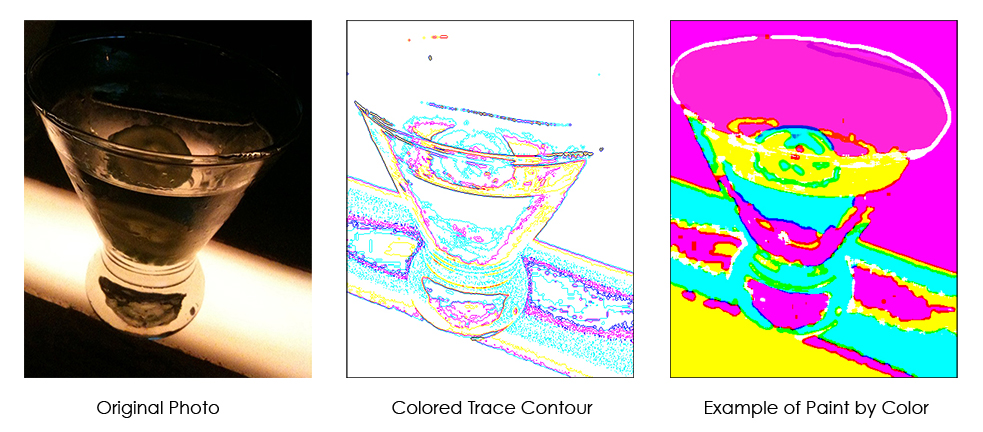 Upload your own photos to convert to a Casart Paint by Color in color trace contours