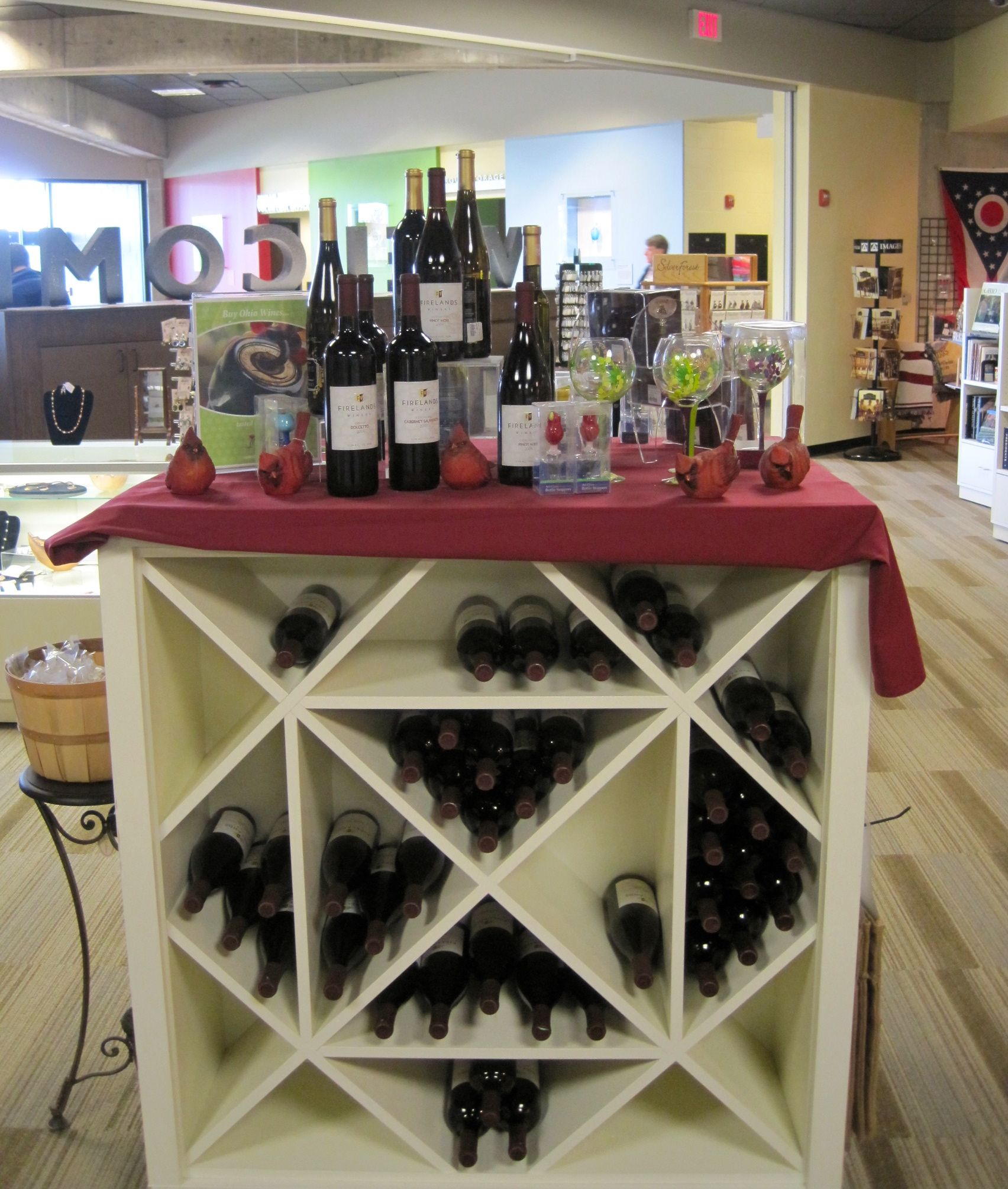 Some of the Ohio wines available for purchase at the Ohio History Store in the Ohio History Center, Columbus, OH. The store plans to sponsor wine tasting events in conjunction with Ohio wineries.