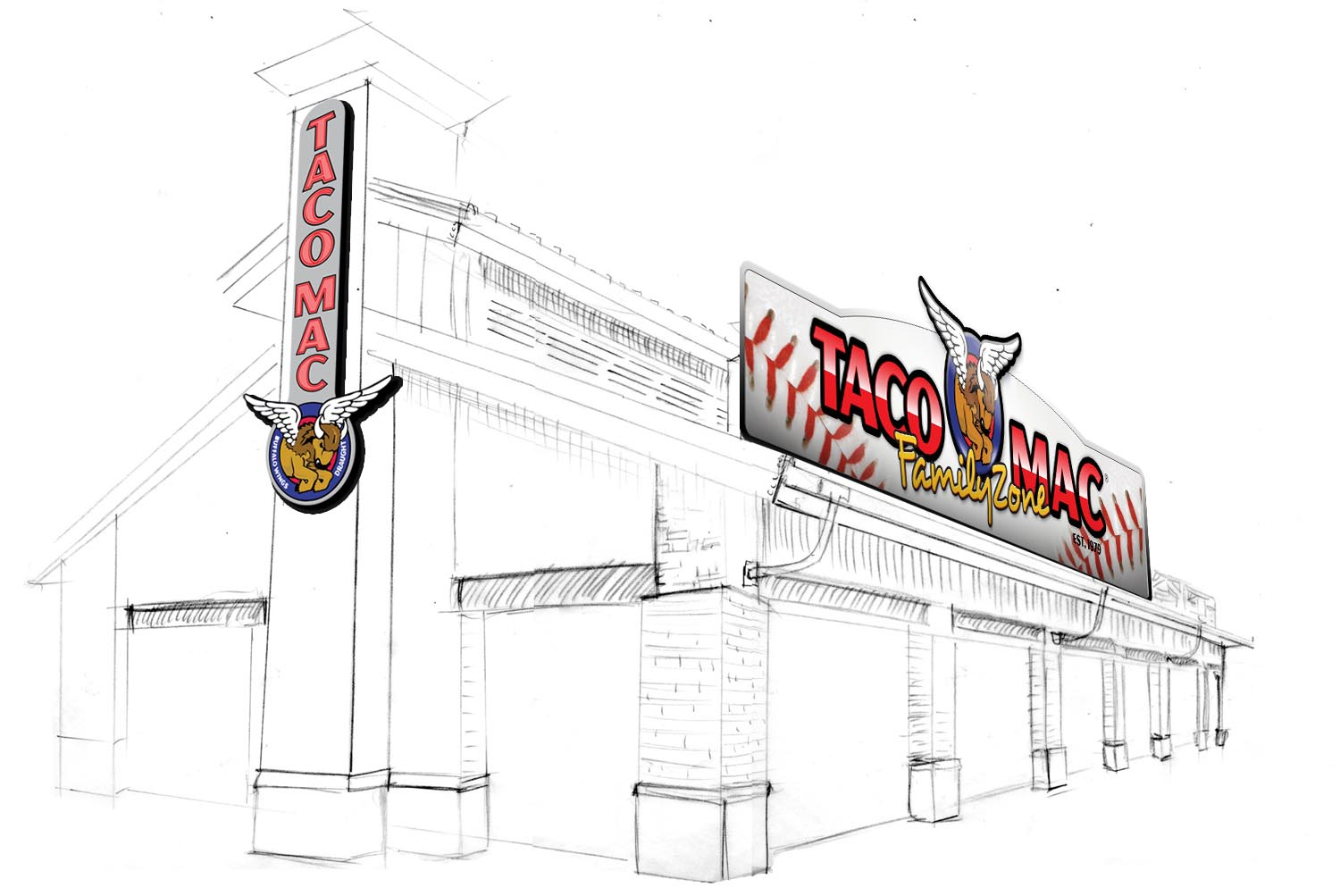 Initial sketch of the Taco Mac Family Zone from MELT, Taco Mac's creative agency and developers of the Taco Mac Family Zone