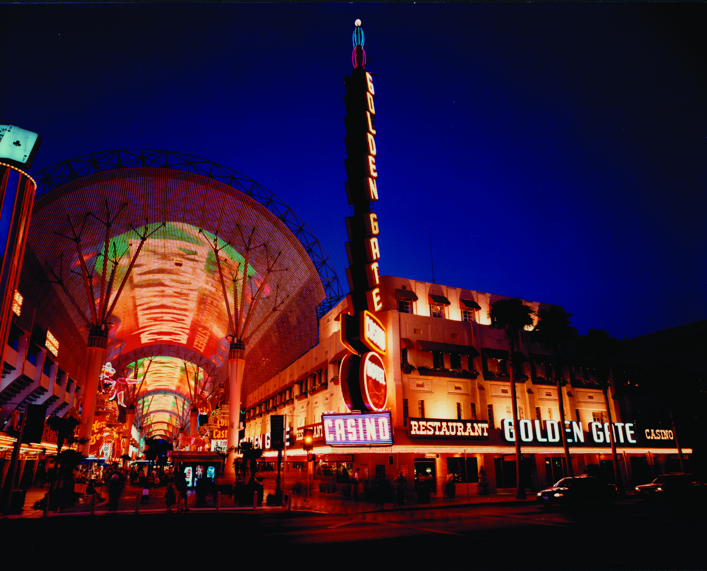 "In 1995, the Fremont Street Experience closes the street to vehicle traffic and transforms the world's most famous neon street into an urban theater with landscaped paths, street performers and a 10-story-tall, 4-block long ""space frame"" with multi-sensory light shows choreographed to booming start-of-the-art sound."