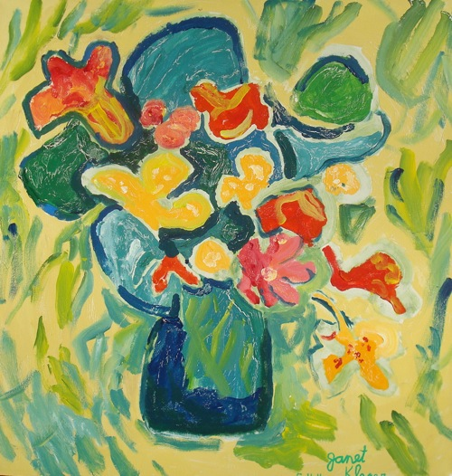 Floral Still Life, by Janet Kleser, DLCAC Student, acrylic paint on canvas