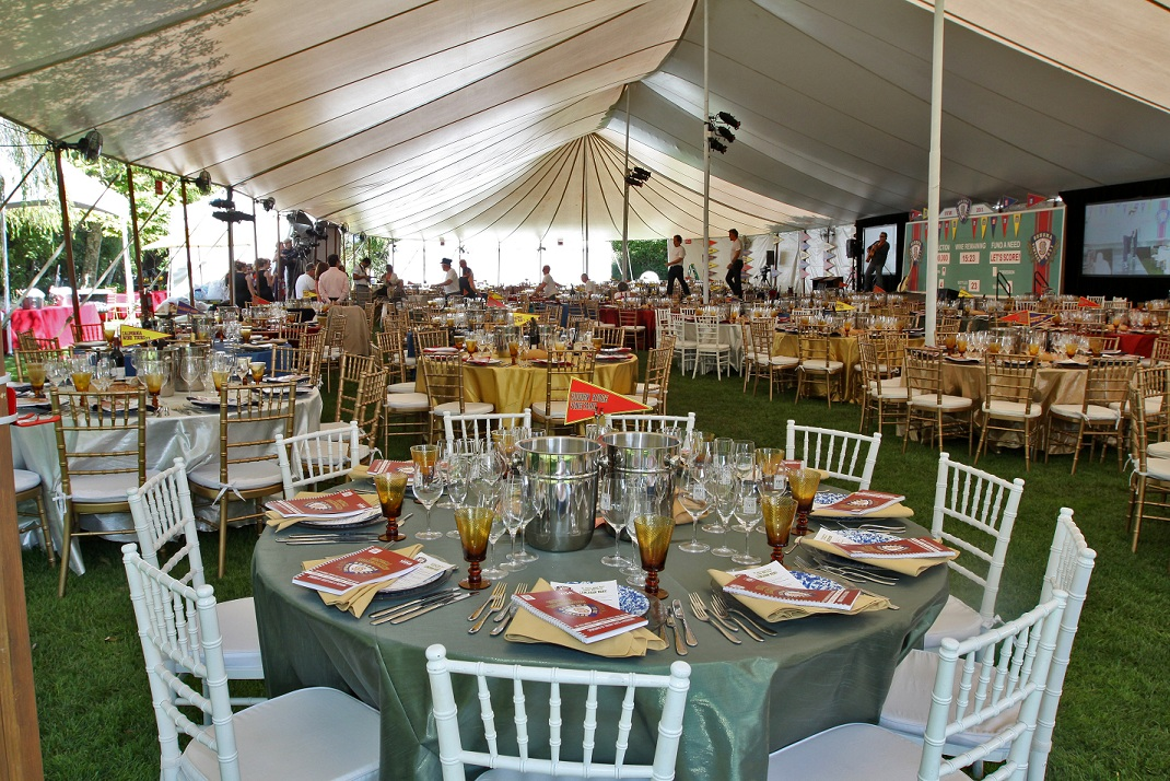 The Sonoma Valley Harvest Wine Auction tent, set for Auction 2011. Photo by Melania Mahoney.