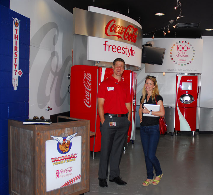 Taco Mac partnered with the Atlanta Braves to sponsor and redo the family entertainment area of Turner Field, bringing with it, the Coca-Cola Freestyle Zone. Photo Courtesy: MELT Atlanta