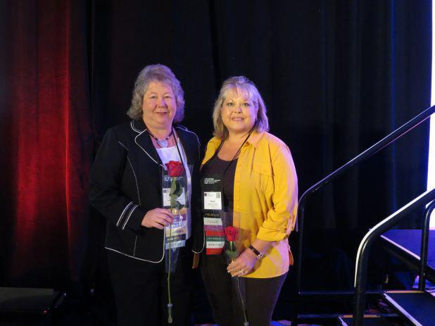 Susan M. Bush, RN (right) and Karen Grindstaff, MSN, FNP-BC are inducted as PCNA Fellows during the 2012 PCNA 18th Annual Symposium in Washington, DC.