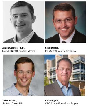 New CBSA director appointments include James Chomas, Ph.D., Founder & CEO, Surefire Medical; Scott Deeter, President & CEO, Ventria Bioscience; Brent Fassett, Partner, Cooley LLP; and Kerry Ingalls, Vice President of Colorado Operations, Amgen.