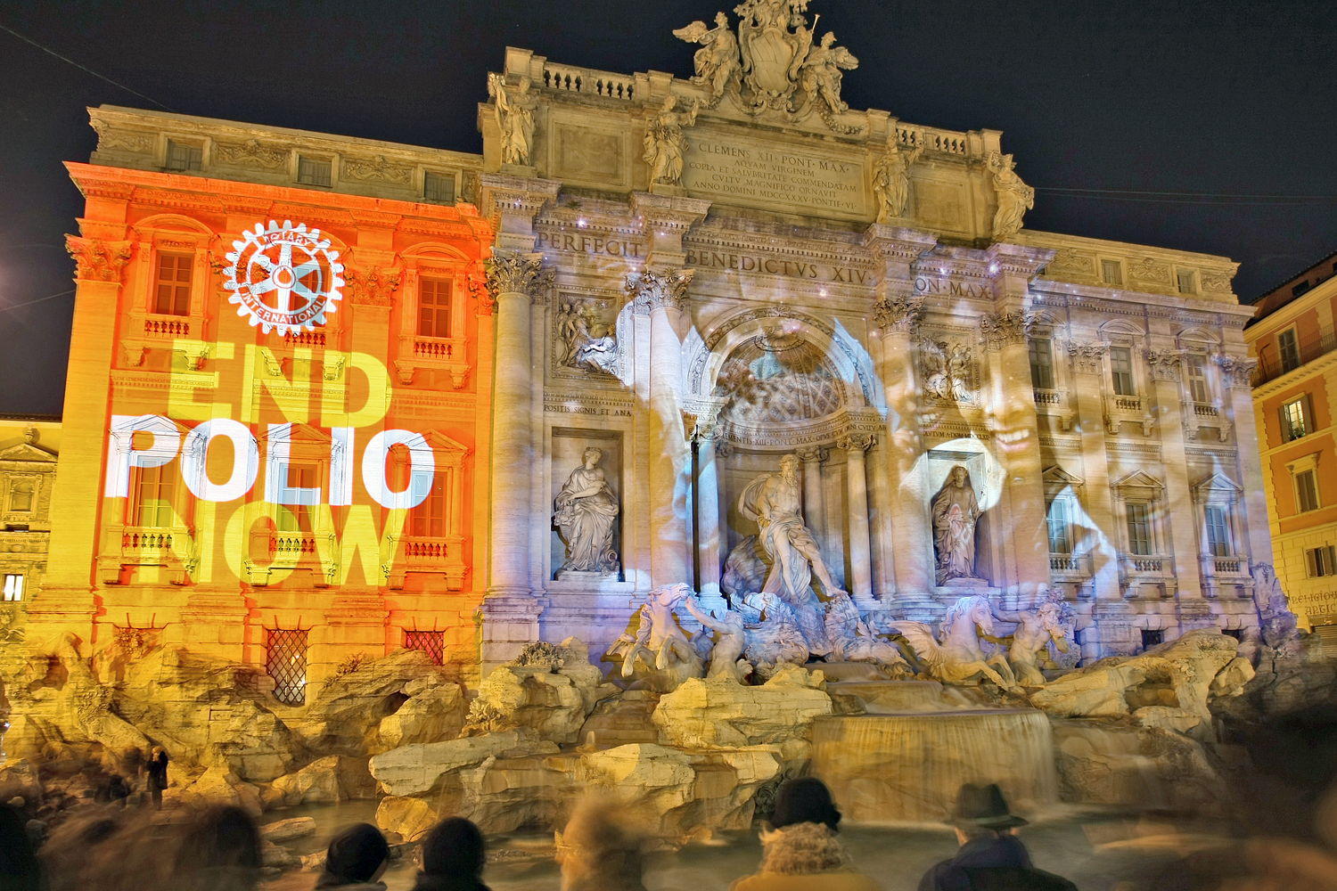 "In 2011, Italy's Trevi Fountain was illuminated with the words ""End Polio Now."""