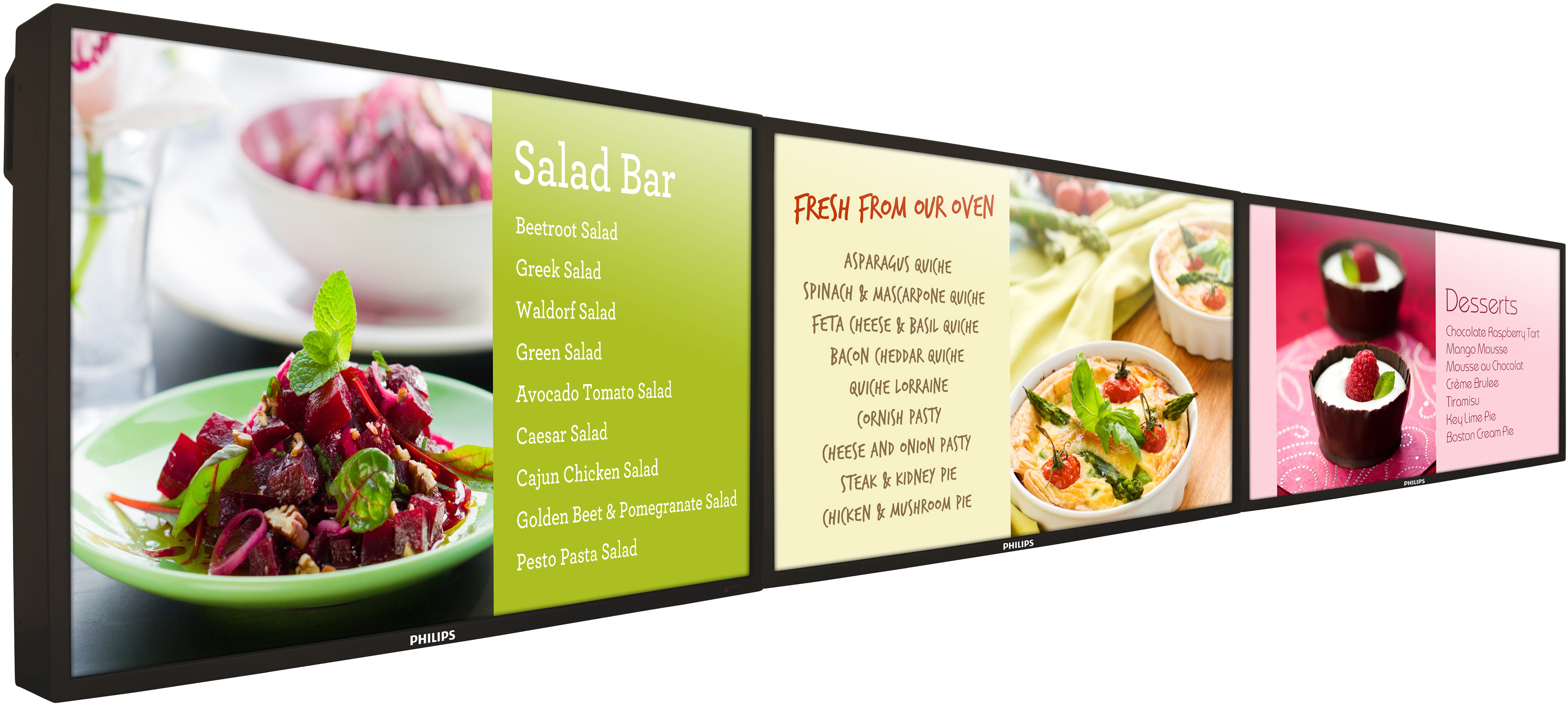 Philips BDL4771V in 3x1 digital menu board configuration