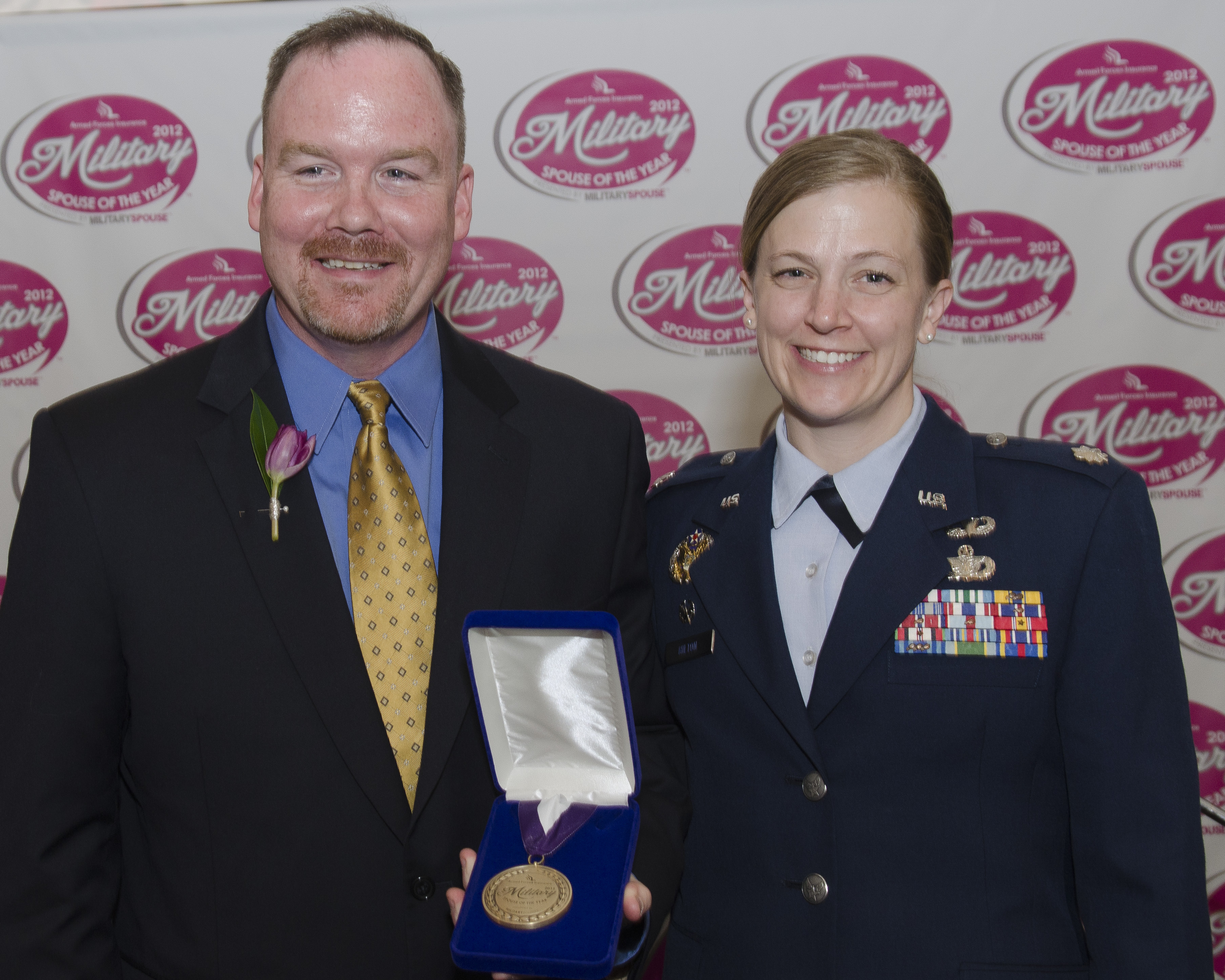 Jeremy Hilton and wife Renae after Jeremy won the 2012 Military Spouse of the Year Award