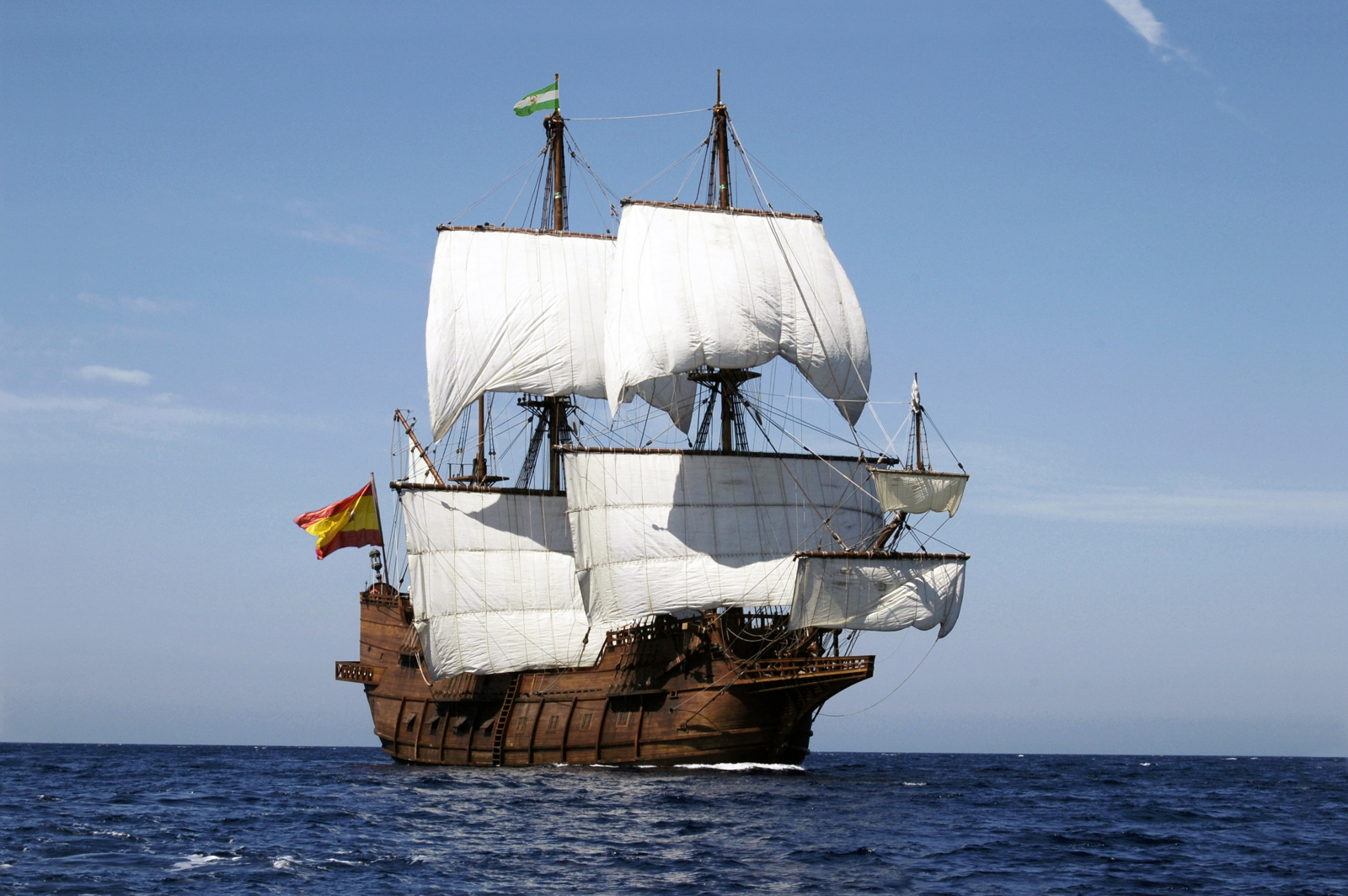 El Galeón, at sea, sailed from Spain to Florida to salute 500 years since Spaniard Juan Ponce de León claimed La Florida for Spain in 1513. The historic ship will make port in four Florida cities this spring for public tours. Credit: Nao Victoria Foundation, or Fundación Nao Victoria