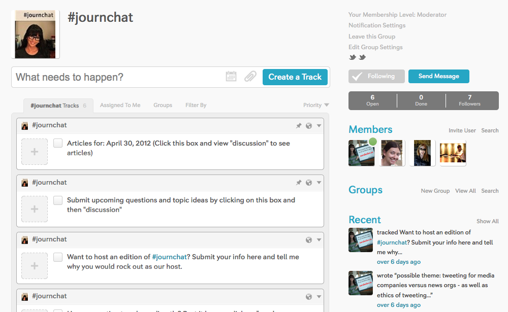 Evans uses @tracky to manage her weekly Twitter chat, #journchat.