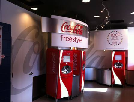 The Coca-Cola Freestyle Zone inside of the Taco Mac Family Zone at Turner Field