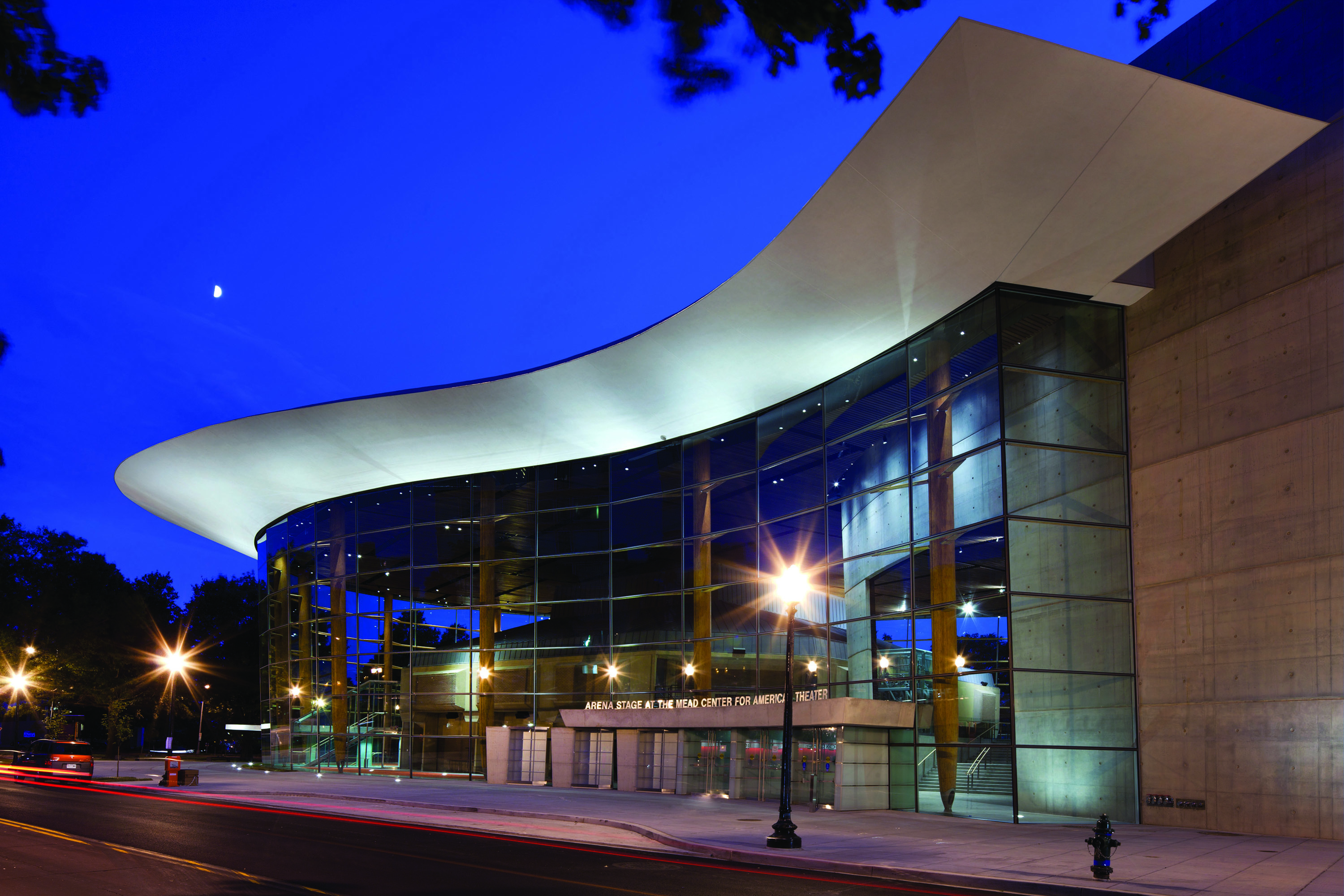 Arena Stage at the Mead Center for American Theater at night from 6th Street, photo by Nic Lehoux courtesy of Bing Thom Architects.
