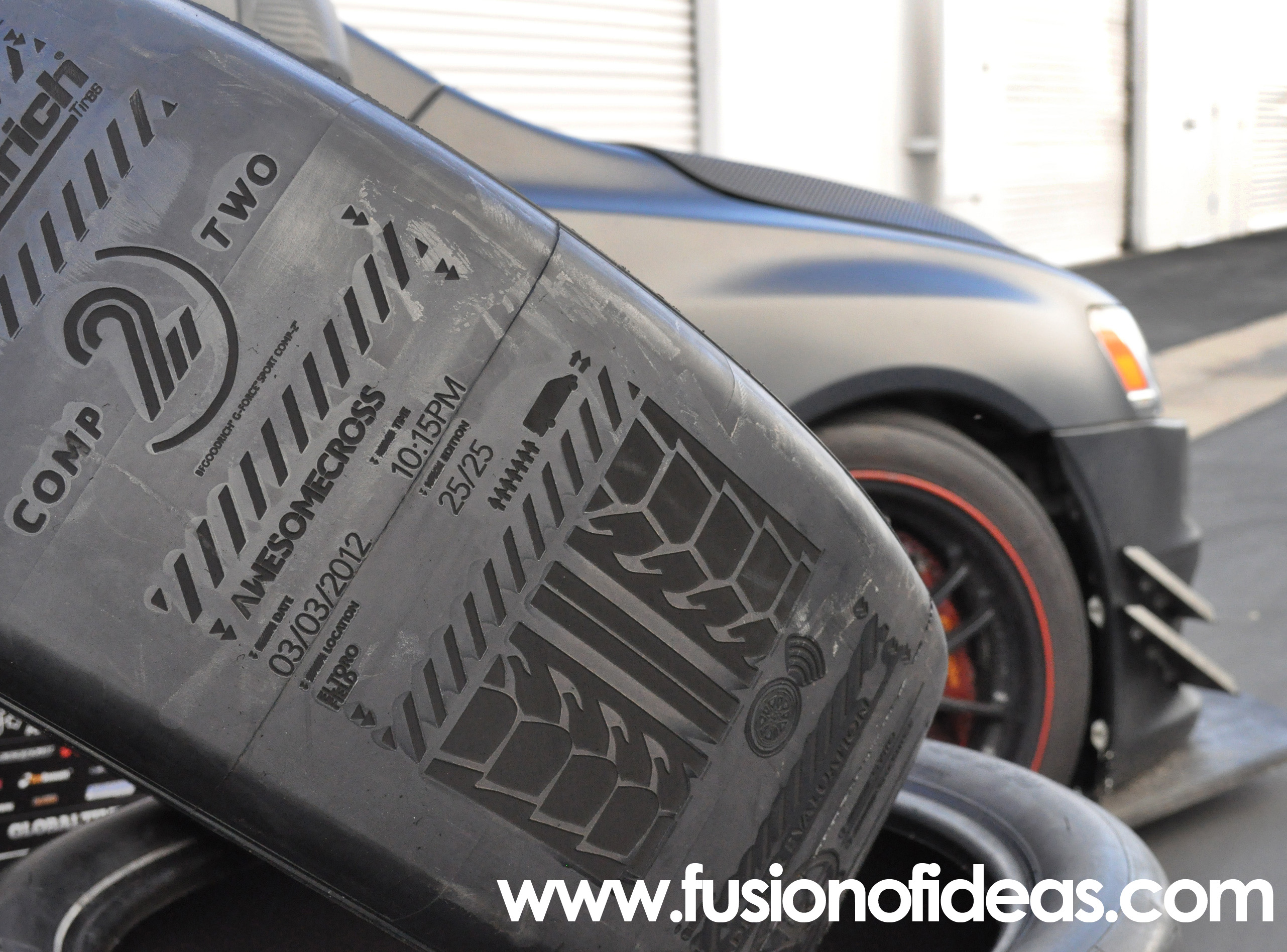 BFGoodrich AWESOMECROSS used tires to invite participants. Fusion of Ideas was commissioned to laser etch the tires.