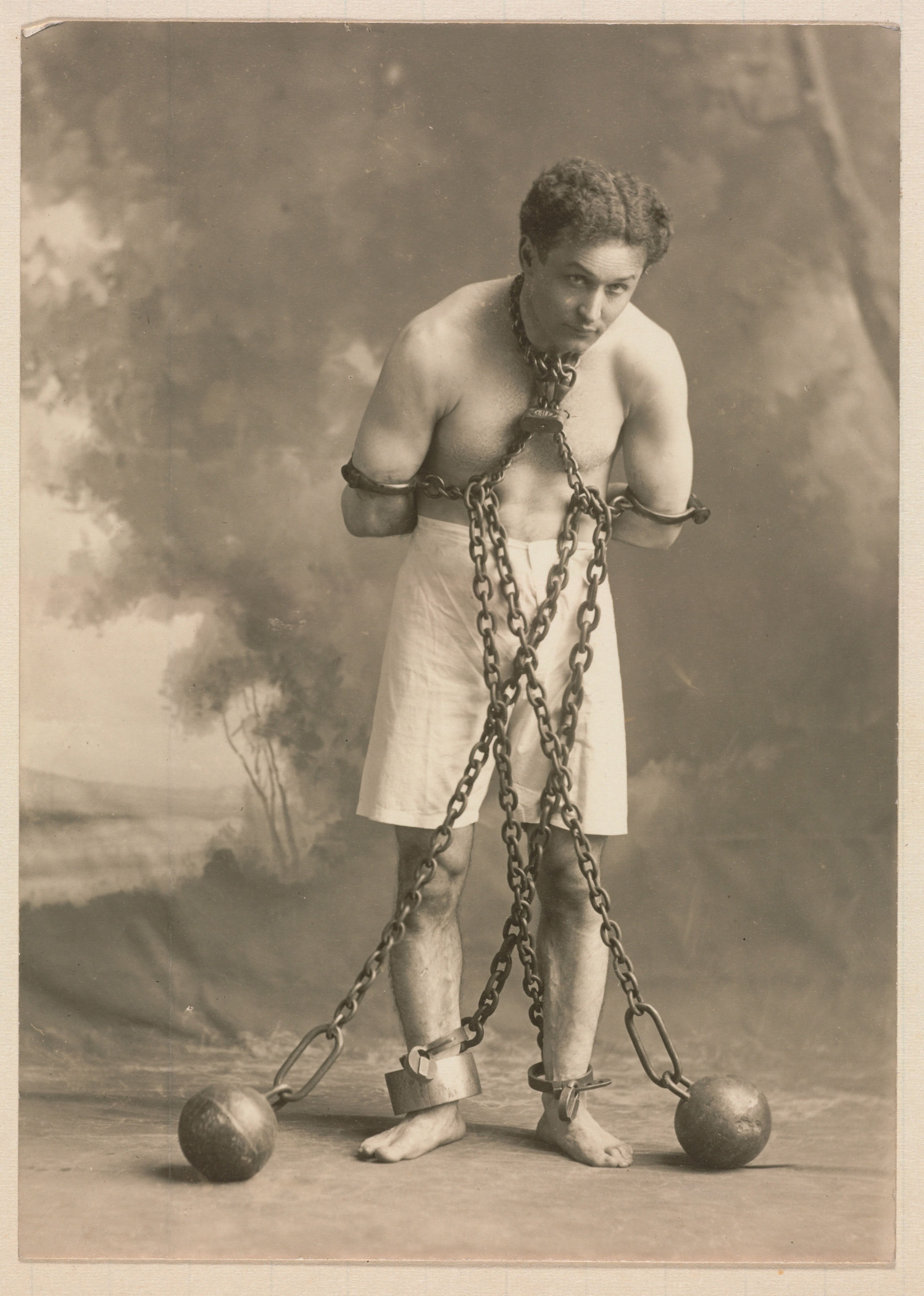 Studio photograph of Houdini from the Harvard Theatre Collection, photo courtesy Madison Museum of Contemporary Art