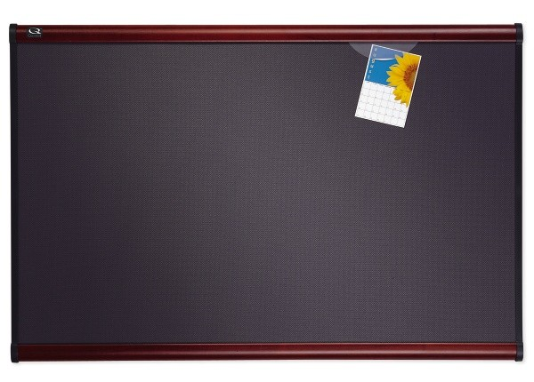 Quartet B444M Prestige Plusr 4x3 Diamond Mesh Fabric Bulletin Board - Mahogany