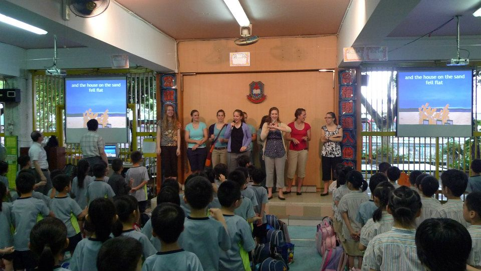 Concordia students lead songs in morning assembly at Sui Leun Lutheran Primary School in Hong Kong.