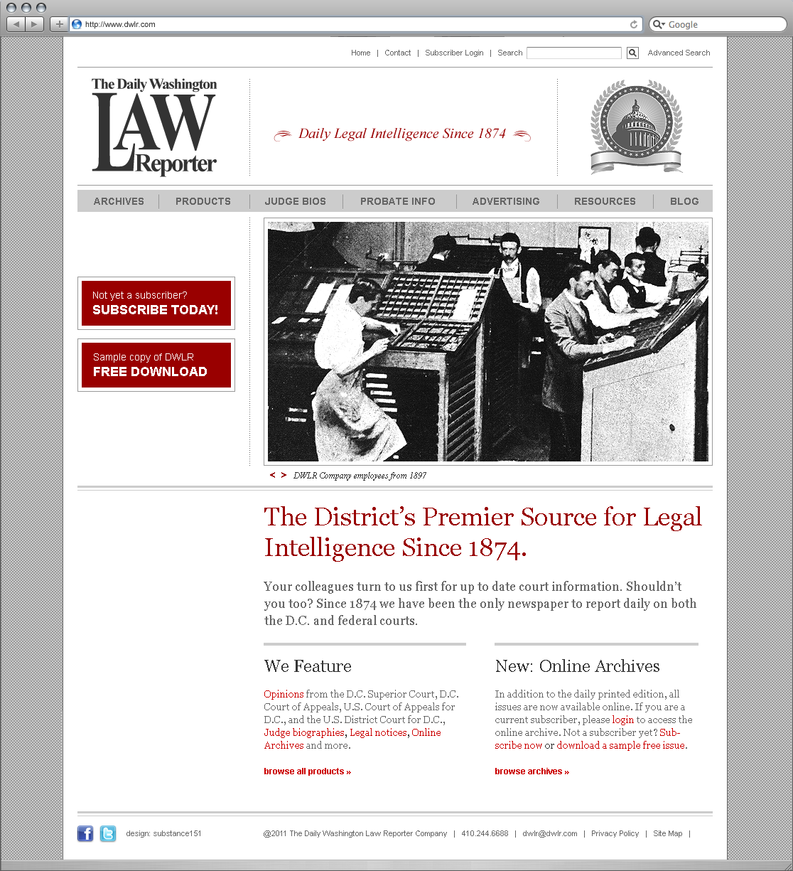 The Daily Washington Law Reporter website redesign