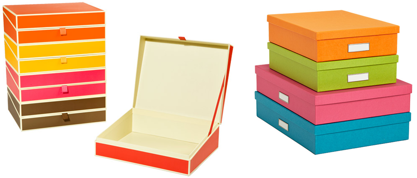 Semikolon Document Box Spring Collection, approx. $24.99 for each box. Bright Stockholm Office Storage Boxes starting at approx. $9.99 each box.