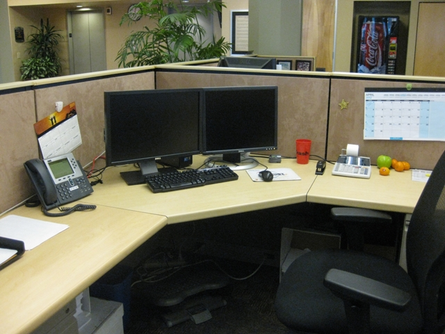 The new workstations at DaVita's Tacoma business office.