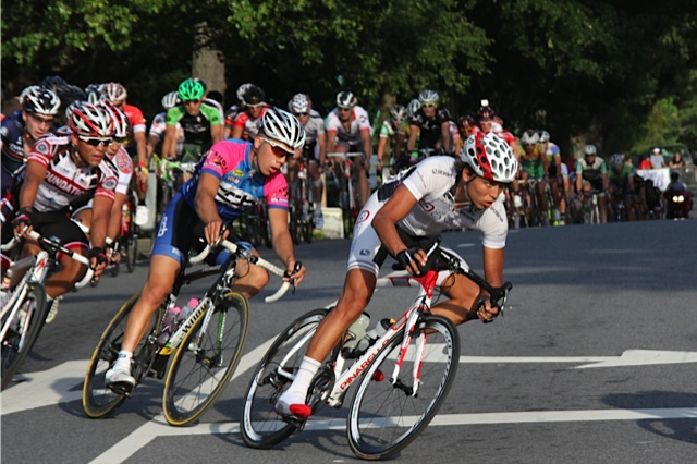 Cole House's race face during the Historic Roswell Criterium.